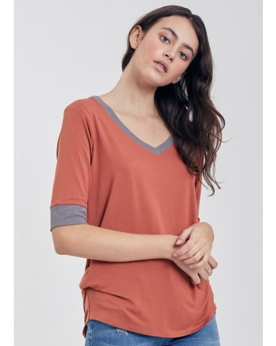 Kaydence V-Neck w/Contrast Rib Tee in Mauve/Heather Grey by Another Love