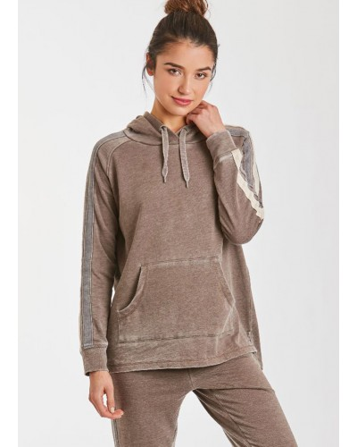 Lana Burnout Side Stripe Athletic Jogger in Espresso/Charcoal by Another Love