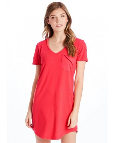 Cassidy Solid Tee Shirt Dress in Coral by Another Love
