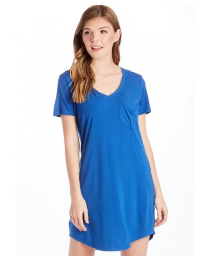 Cassidy Solid Tee Shirt Dress in Royal by Another Love