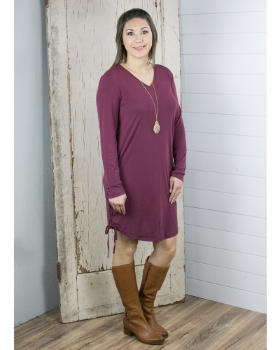 Jordan Lace Up Side Seam Dress in Bordeaux by Another Love