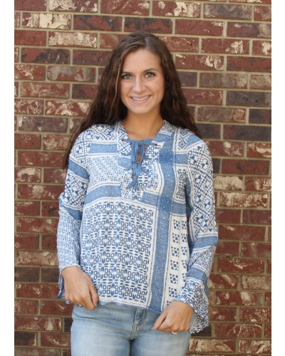 Crochet Lace Up Bell Sleeve Top in Denim/Ivory by Vintage Havana