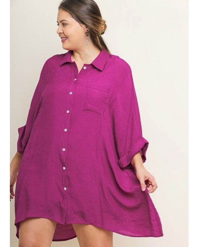 Plus 3/4 Rolled Sleeve Collared Dress in Berry by Umgee