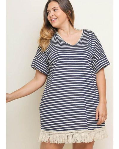 Plus S/S Striped V Neck Dress in Navy by Umgee