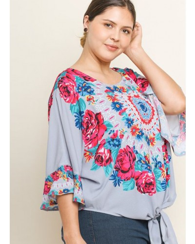 Floral Medallion Print Bell Sleeve Top in Cool Grey by Umgee