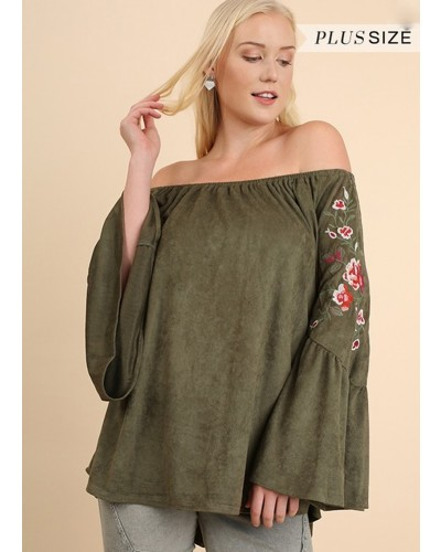 Plus - Off Shoulder Embroidered Top in Olive by Umgee