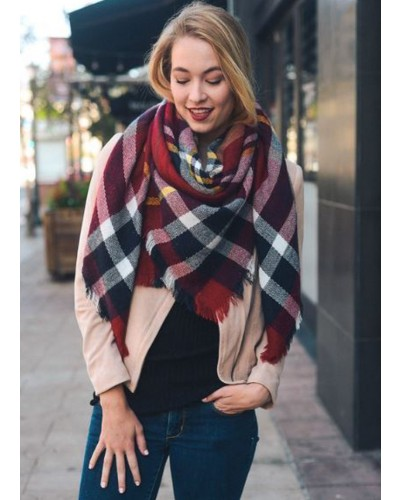 Plaid Blanket Scarf in Red/Navy/White