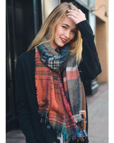 Plaid Scarf in Rust